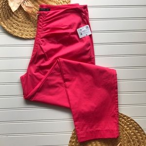 NWT ZARA hi-waist zip cropped pants in hot pink